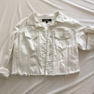 NEW White denim cropped jacket. Express. Large